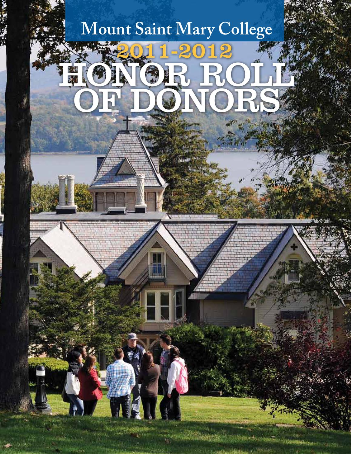 Mount Saint Mary College Honor Roll Of Donors 2011 2012 By