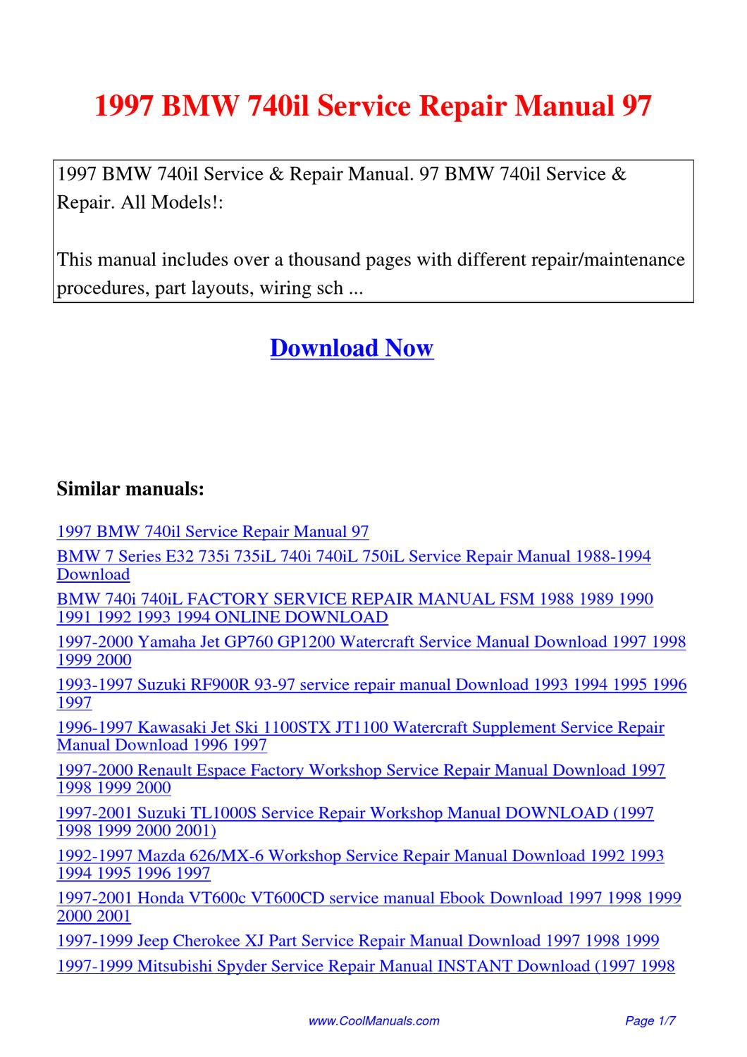 1997 bmw 740il service repair manual 97 by lan huang issuu. Black Bedroom Furniture Sets. Home Design Ideas