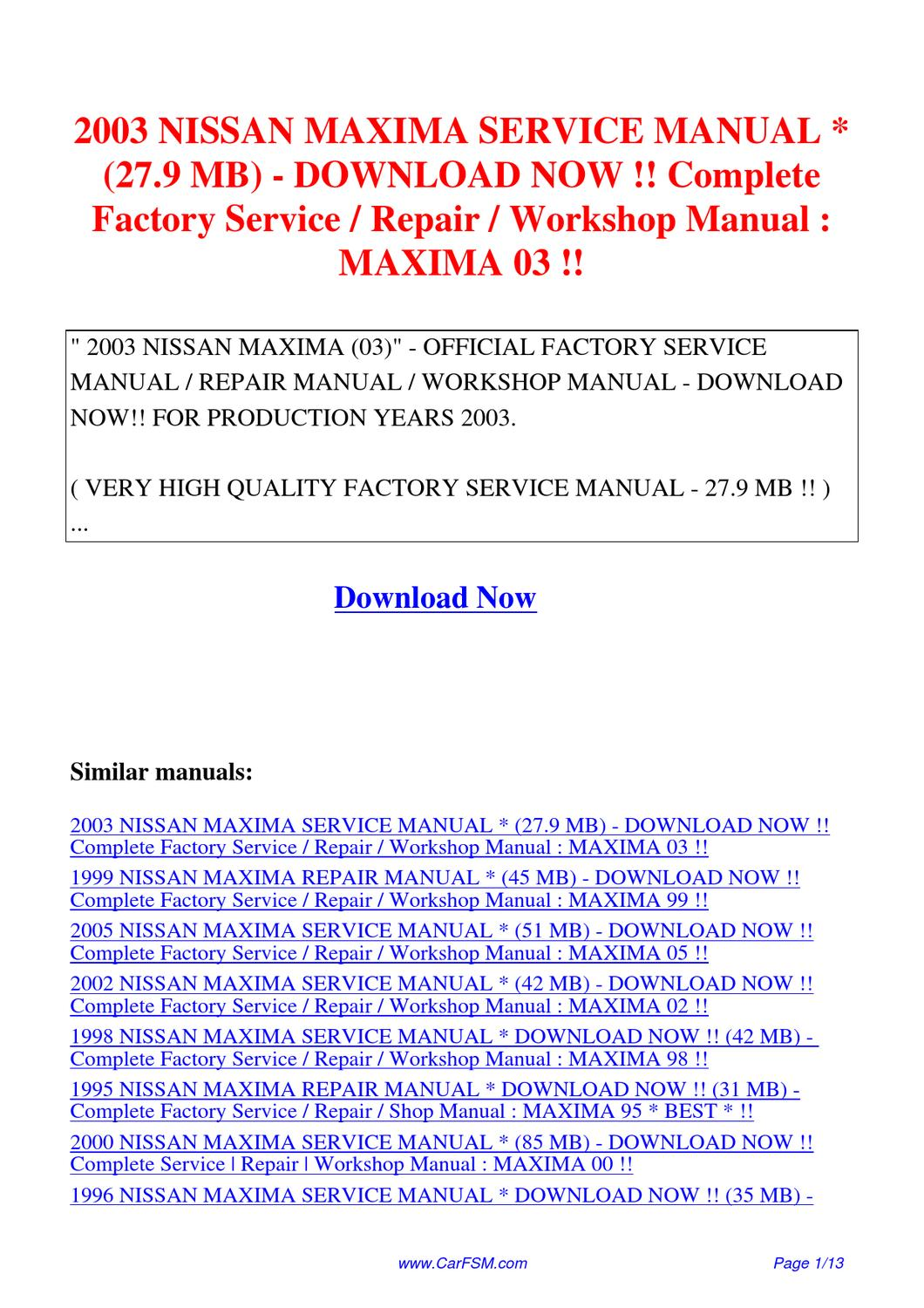 2003 nissan maxima service manual 27 9 mb complete factory. Black Bedroom Furniture Sets. Home Design Ideas
