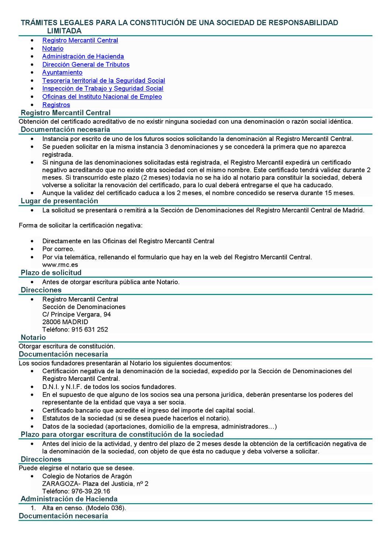 Tramites administrativos para la constituci n de una for Oficinas del registro de la propiedad