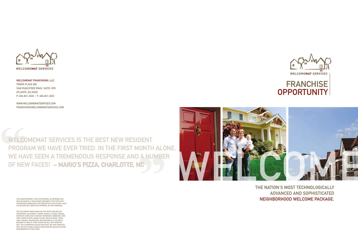 Welcomemat Franchise Brochure By Ifranchise Group Issuu