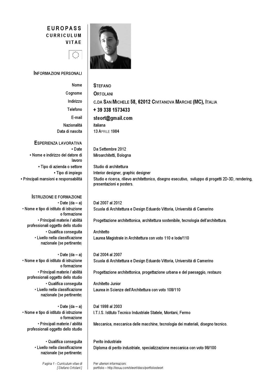 Esempio Curriculum Vitae Europeo Architettura Original Essay
