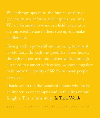 In Their Words: 2012 Foundation Annual Report