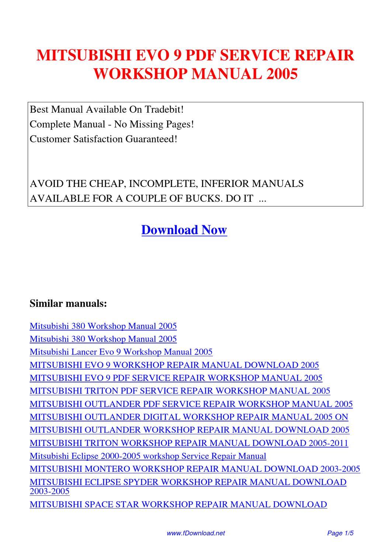 mitsubishi evo 9 service repair workshop manual 2005 by