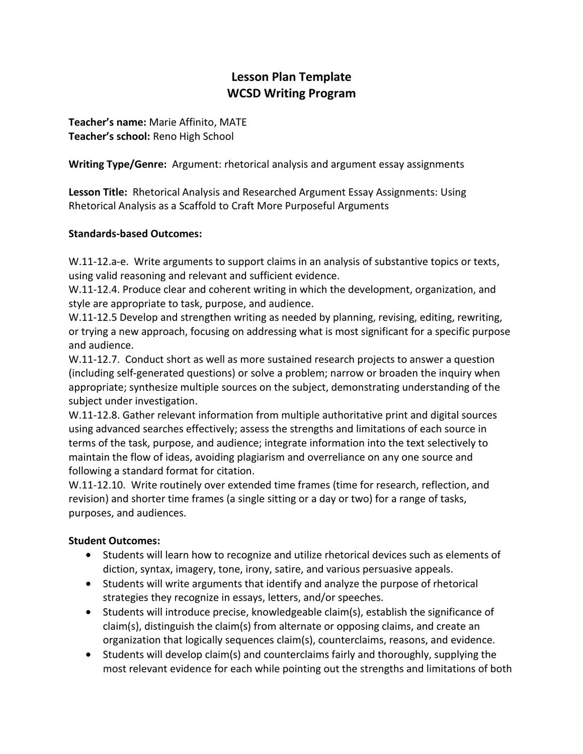 rhetorical analysis and researched argument essay assignments by rhetorical analysis and researched argument essay assignments by washoe county school district
