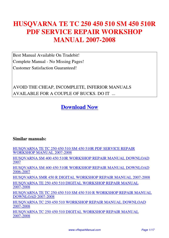 Husqvarna 510 For Sale 2016 Husqvarna Te 510 Repair Manual