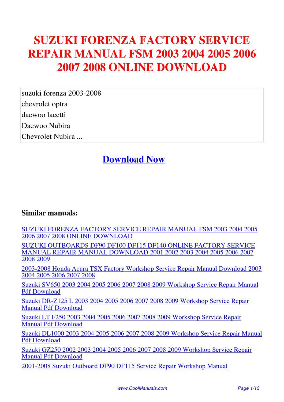 free factory service manual pdf