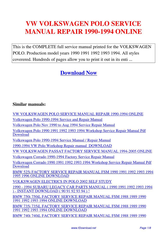 Vw Volkswagen Polo Service Manual Repair 1990-1994 By Gipusi Samu