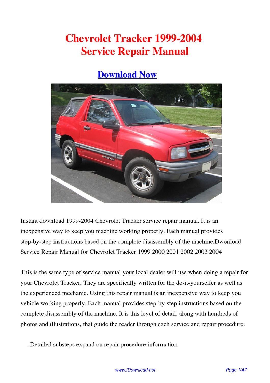 1999 Chevrolet Tracker Wiring Diagrams Online Repair Manuals