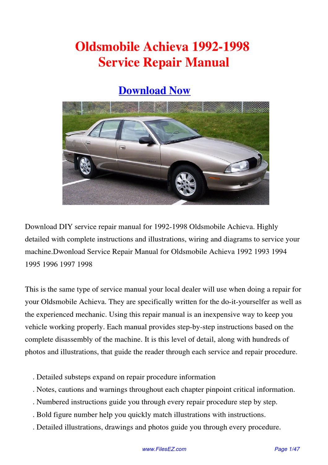90 Oldsmobile 88 Repair Manual 1992 Royale Wiring Diagram Service Free Online Car Manuals Download 1998