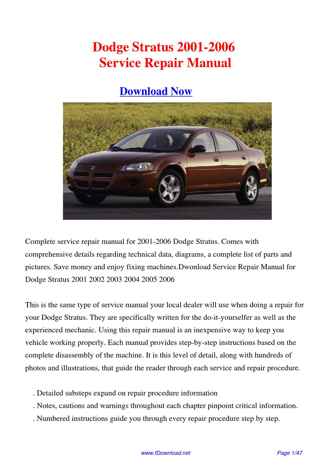 download 2001 2006 dodge stratus factory repair manual by. Black Bedroom Furniture Sets. Home Design Ideas