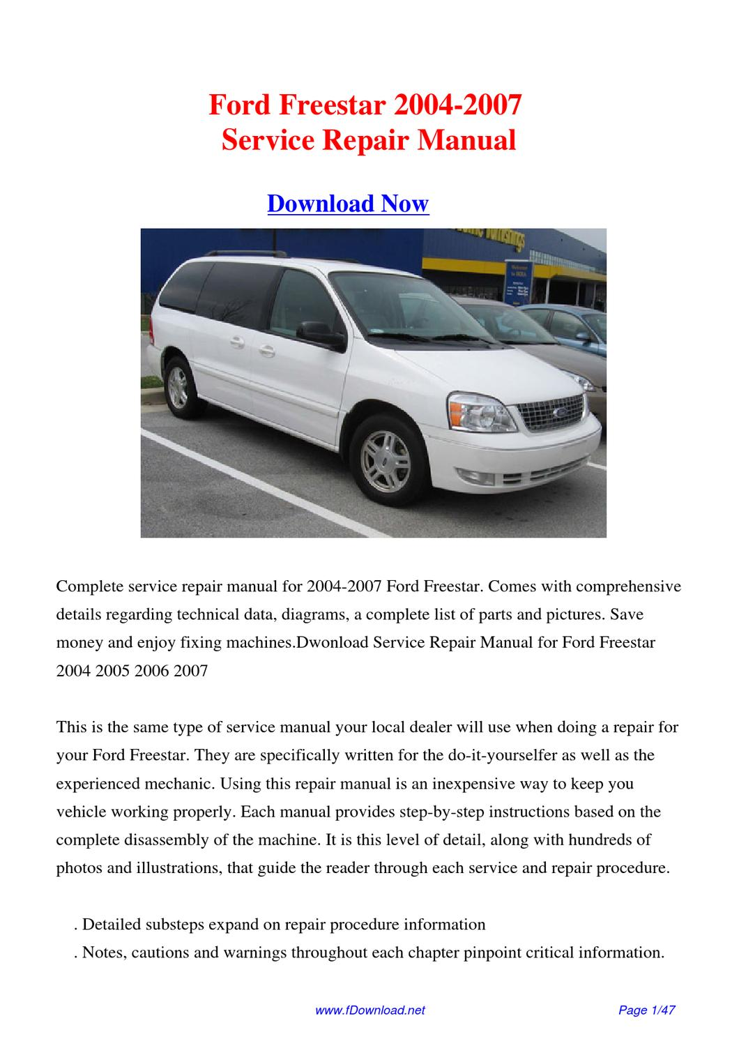 service manual pdf 2007 ford freestar engine repair. Black Bedroom Furniture Sets. Home Design Ideas