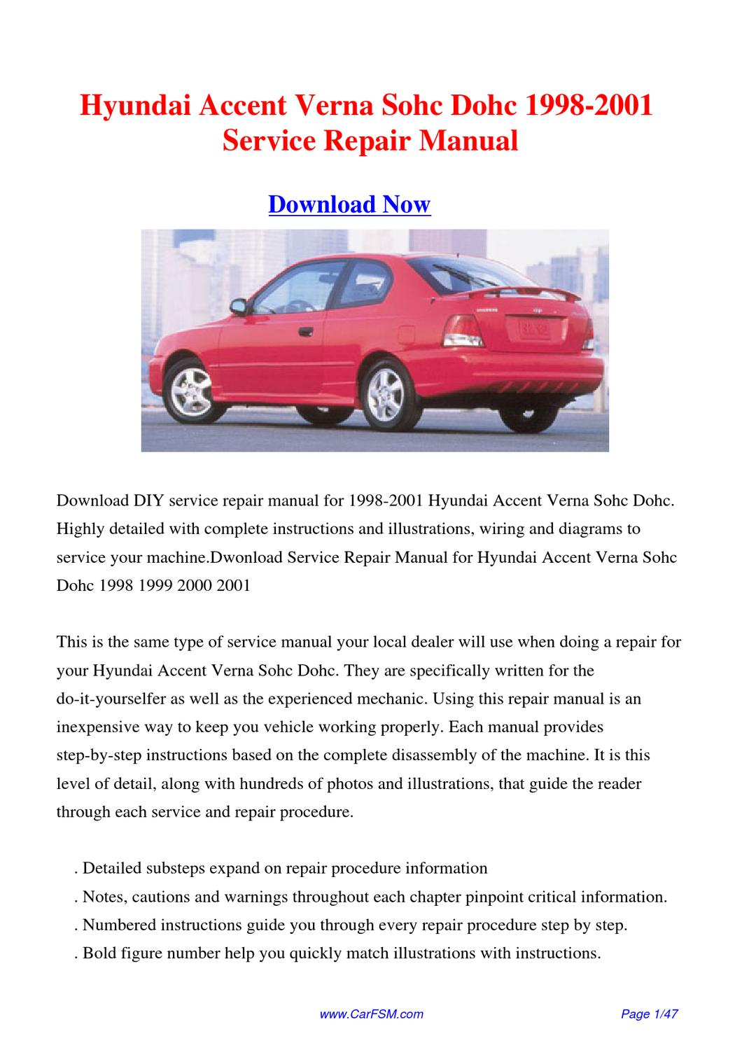 1998 2001 hyundai accent verna sohc dohc service repair hyundai accent 2000 repair manual hyundai accent 2000 service manual