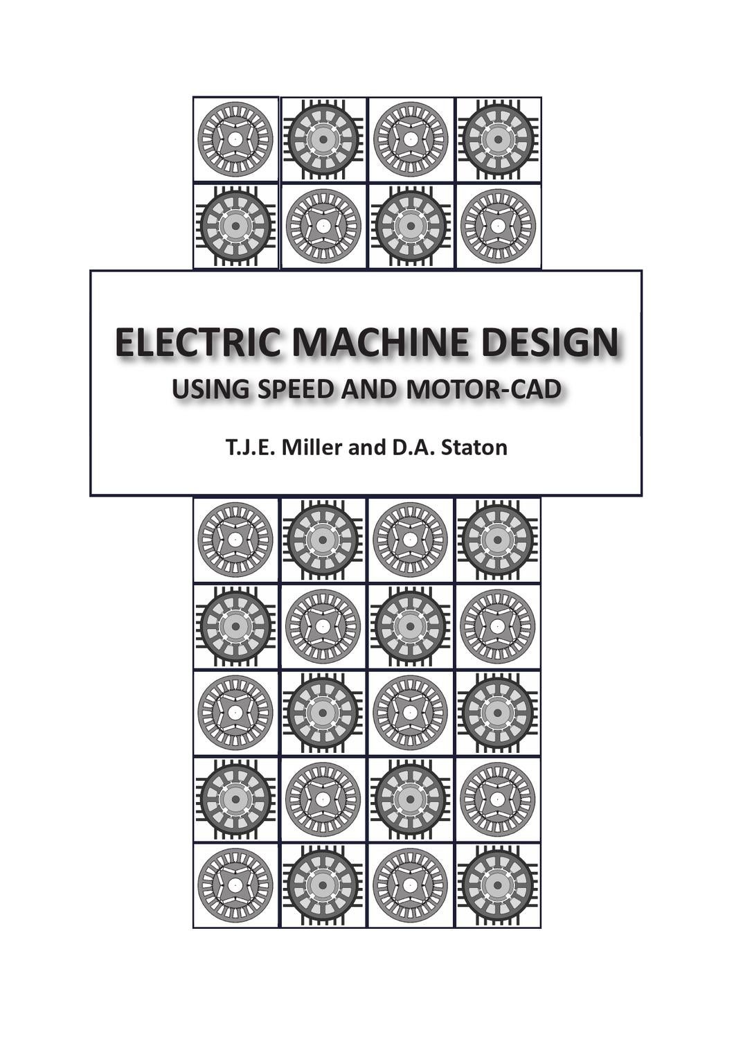electric machine design using speed and motor