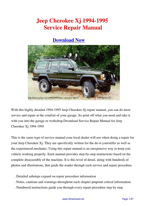 service manual  1995 jeep cherokee dispatch workshop