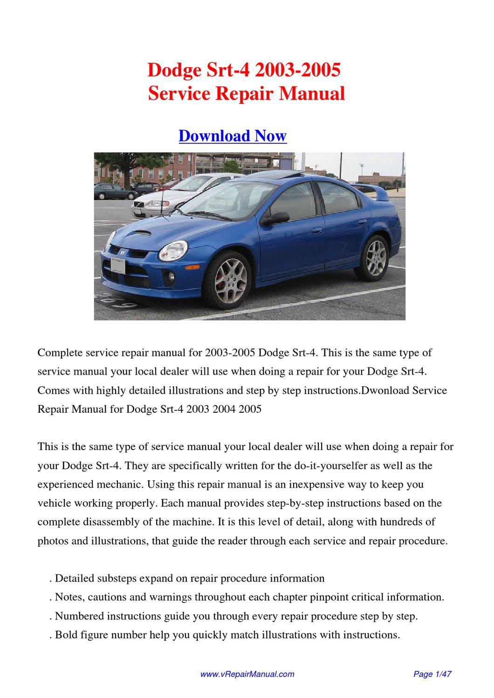 download 2003 2005 dodge srt 4 service repair manual by. Black Bedroom Furniture Sets. Home Design Ideas