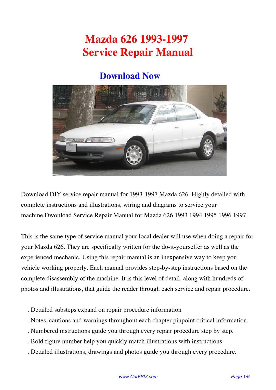 Mazda 626 1993-1997 Repair Manual By Gong Dang