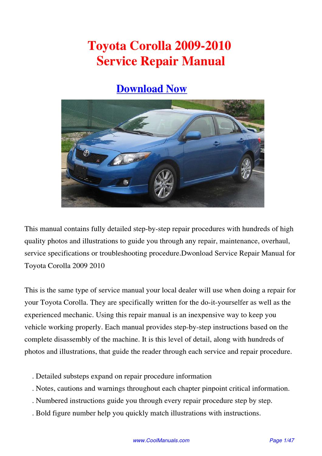 download 2009 2010 toyota corolla factory repair manual by. Black Bedroom Furniture Sets. Home Design Ideas