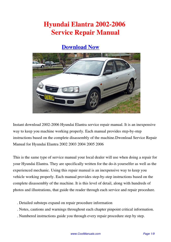 Hyundai elantra avanta service manual