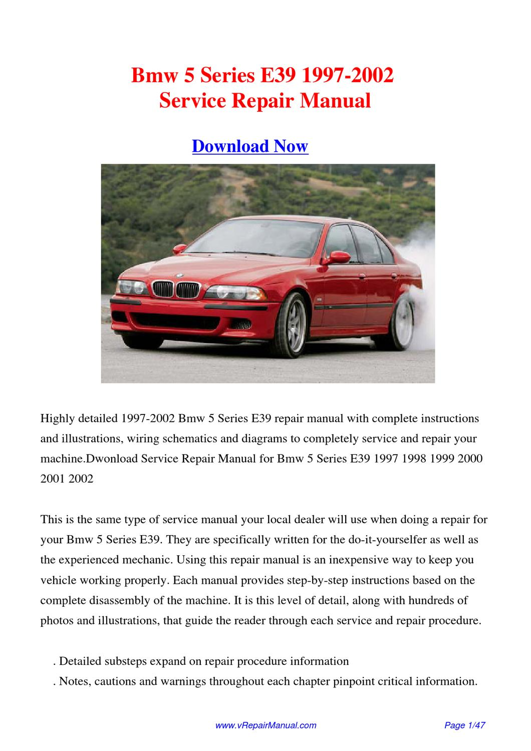 bmw 5 series e39 1997 2002 factory repair manual by huang. Black Bedroom Furniture Sets. Home Design Ideas