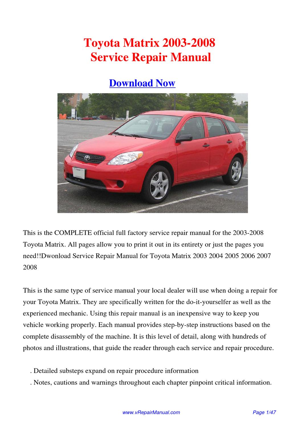 service manual pdf 2008 toyota matrix workshop manuals. Black Bedroom Furniture Sets. Home Design Ideas