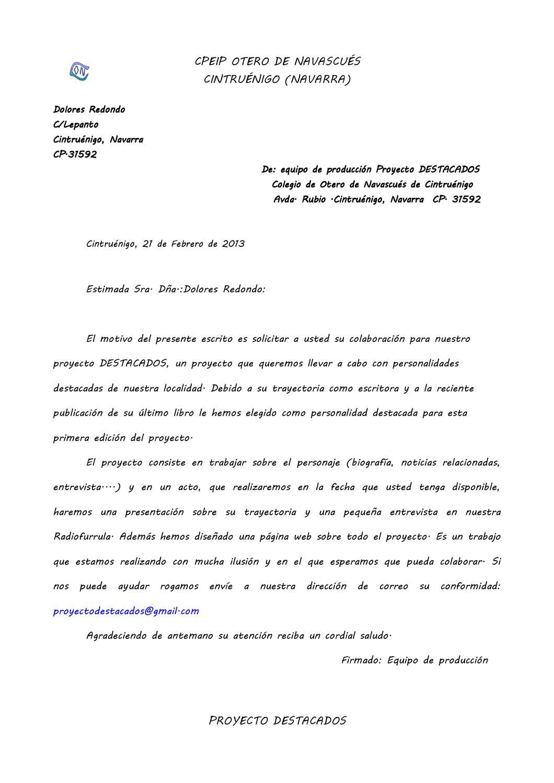 Carta a dolores redondo by proyectodestacados juan page 1 issuu - Colegio otero de navascues ...