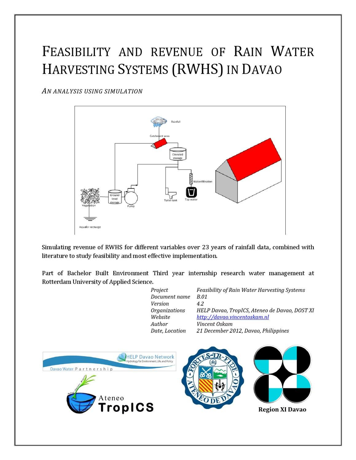 feasibility and revenue of rain water harvesting in davao city by feasibility and revenue of rain water harvesting in davao city by vincent oskam