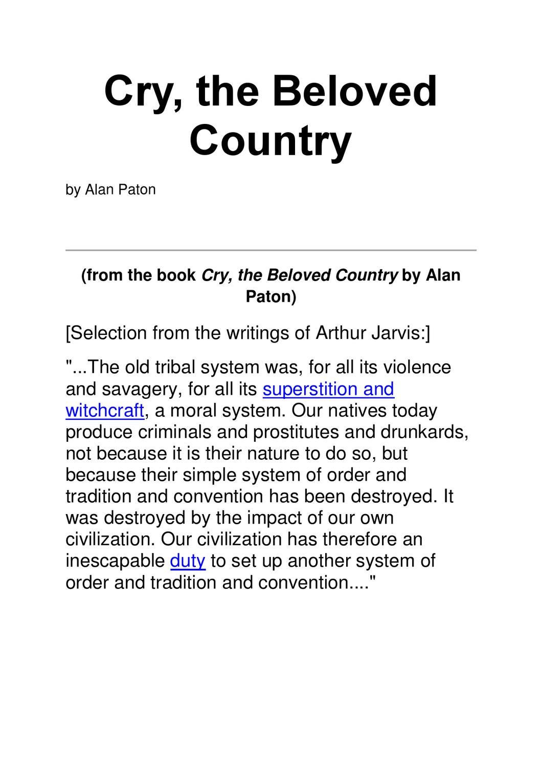 cry beloved country essay questions Need students to write about cry, the beloved country we've got discussion and essay questions designed by master teachers.