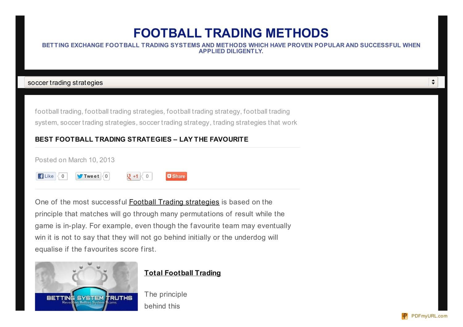Best soccer trading strategies