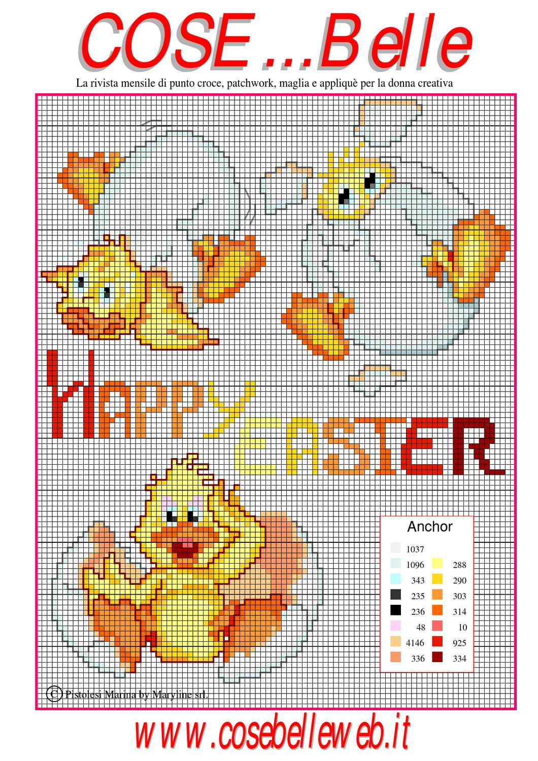 Schema punto croce happy easter by maryline s r l issuu for Ape punto croce schema