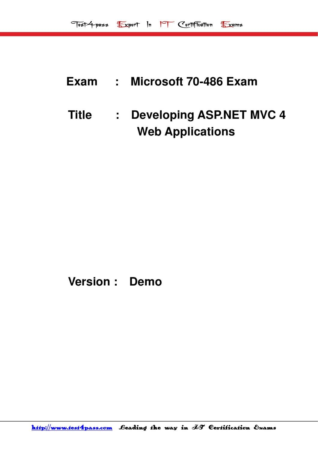 Test4pass Microsoft Test 70 486 Exam Dumps Study Guide By