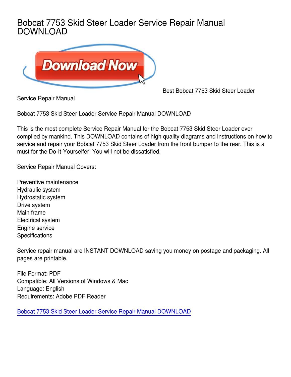 bobcat 7753 skid steer loader service repair manual by bobcat 7753 skid steer loader service repair manual by karen minnick issuu
