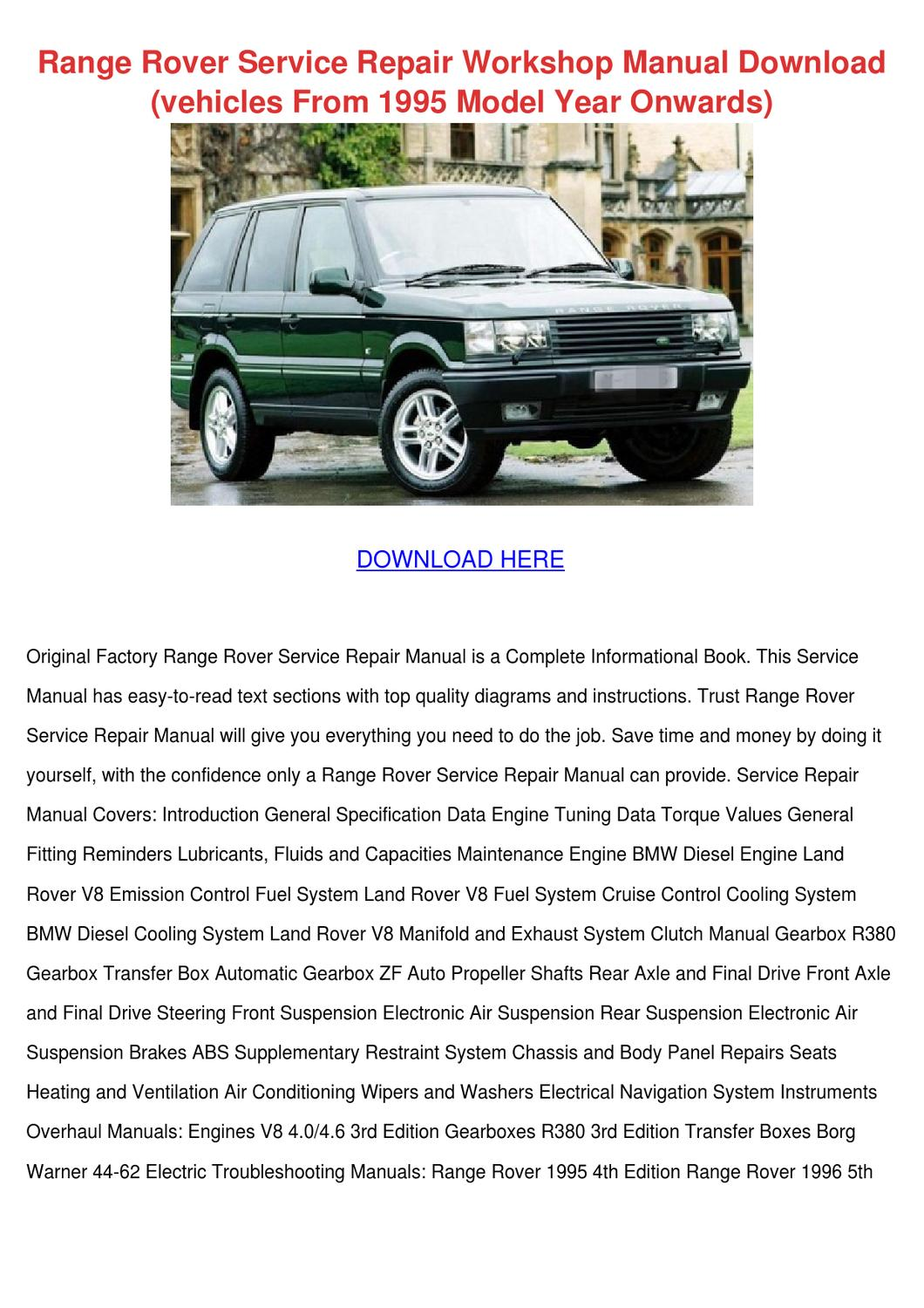 Land Rover Range Rover Workshop Service Repair Manual By Manual Guide