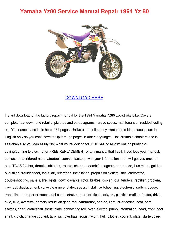 Yamaha Yz80 Service Manual Repair 1994 Yz 80 By Barbera