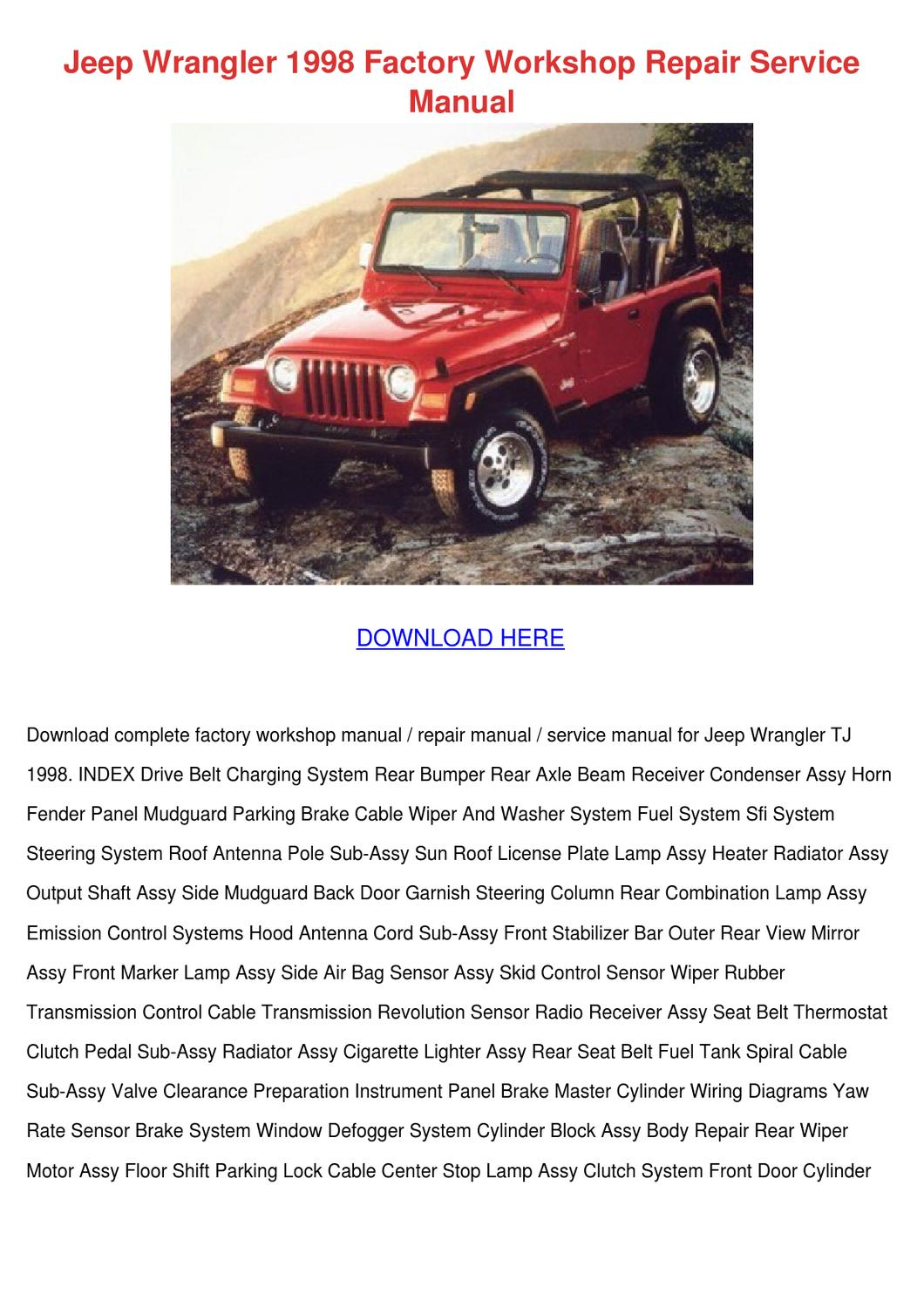 Jeep Wrangler 1998 Factory Workshop Repair Se By Mindy