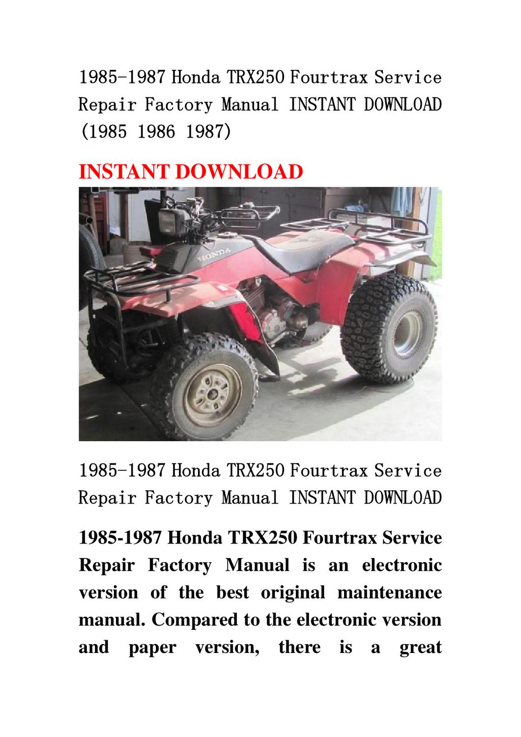 1985 1987 honda trx250 fourtrax atv repair manual