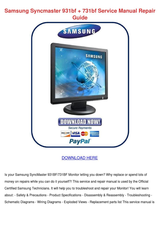 samsung syncmaster t240hd full service manual repair guide