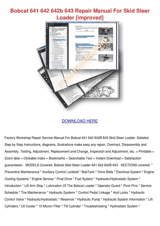 Bobcat 641 642 642b 643 Repair Manual For Ski By Ashly Mottinger