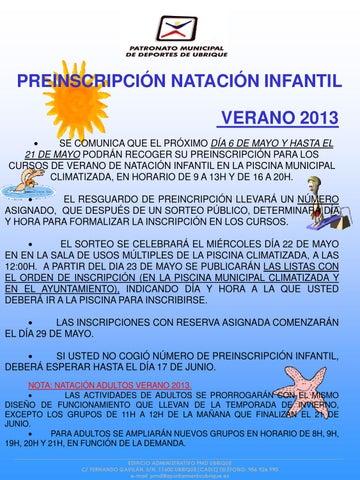 Preinscripción Natación Infantil verano 2013