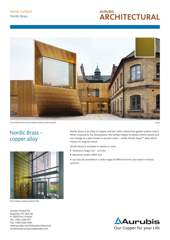 aurubis datasheet nordic brass by aurubis finland oy issuu. Black Bedroom Furniture Sets. Home Design Ideas