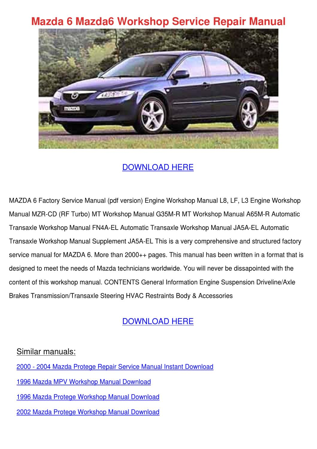 2009 mazda mazda6 service manual download mazda6 2002. Black Bedroom Furniture Sets. Home Design Ideas