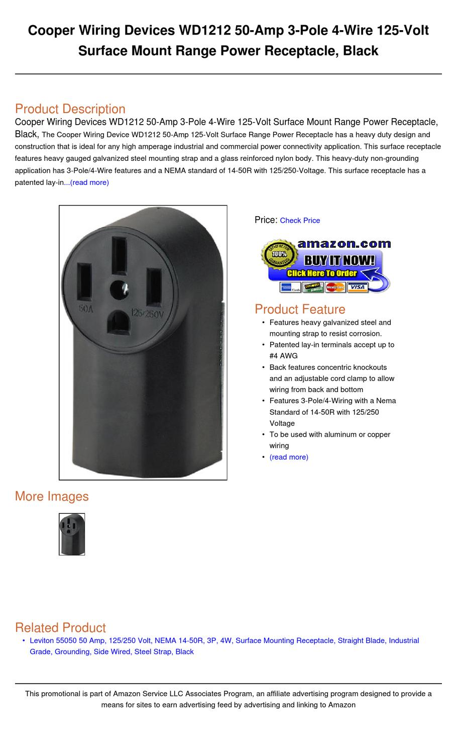 cooper wiring devices wd1212 50 amp 3 pole 4 wire 125 volt surface mount range power receptacle. Black Bedroom Furniture Sets. Home Design Ideas