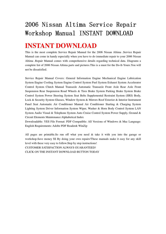 2006 Nissan Altima Service Repair Workshop Manual Instant