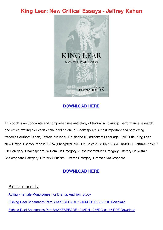 essay on King Lear - A Tragic Hero