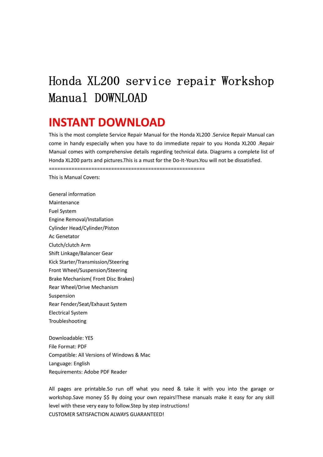 Honda Nx250 Workshop Service Repair Manuals Download Iso Lawn Mower Carburetor Linkage Diagram To Epub