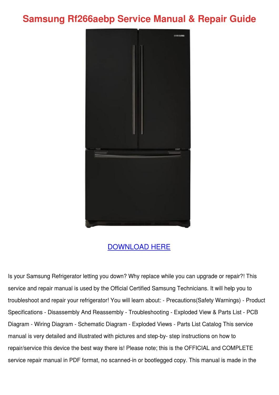 Samsung Rf266aebp Service Manual Repair Guide By Tomeka