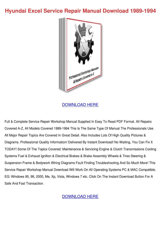 1999 hyundai excel workshop manual pdf