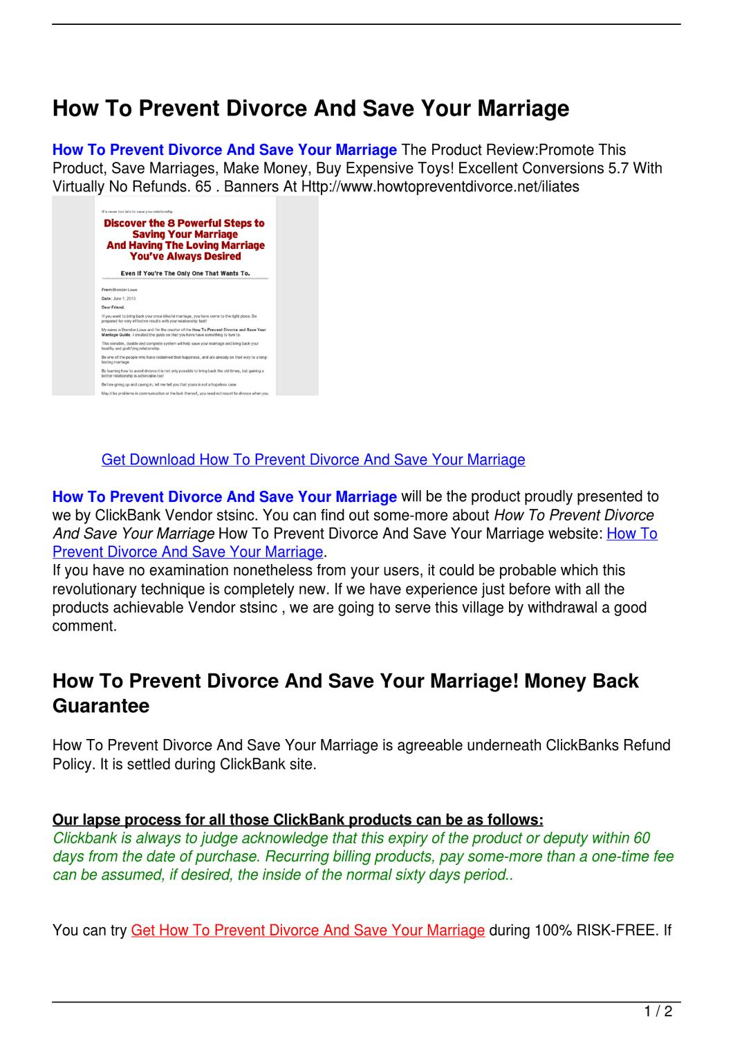 how to prevent divorce How to prevent a divorce - the last resort technique if your spouse told you it's over, it doesn't necessarily nail the marital coffin shut there are stil.
