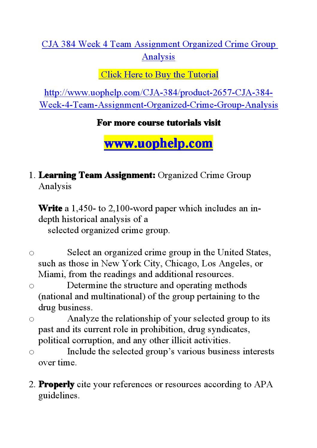 attributes of a organized crime group essay