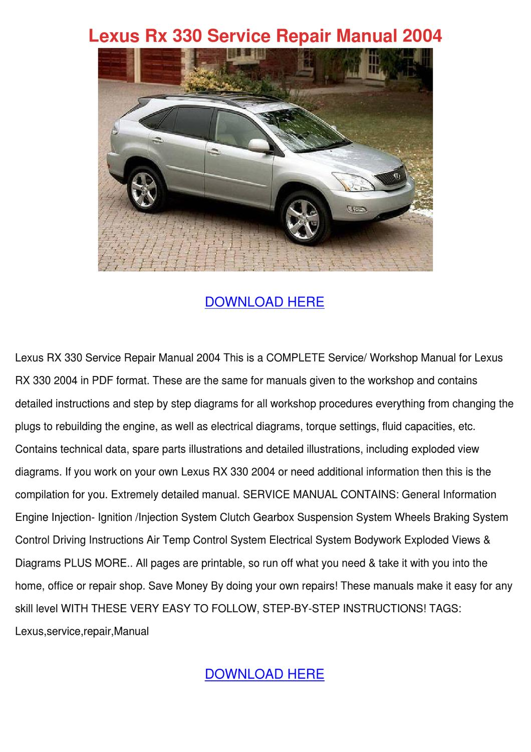 Here is what things to 2002 Lexus Rx300 Owners Manual Pdf Can Give You
